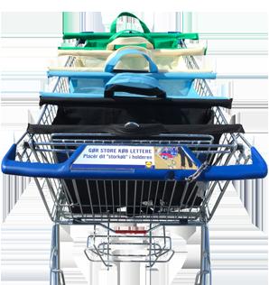 Sorter indkøbsvognen med indkøbstasker